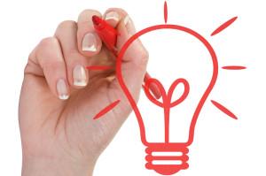 Hand draw light bulb on white background